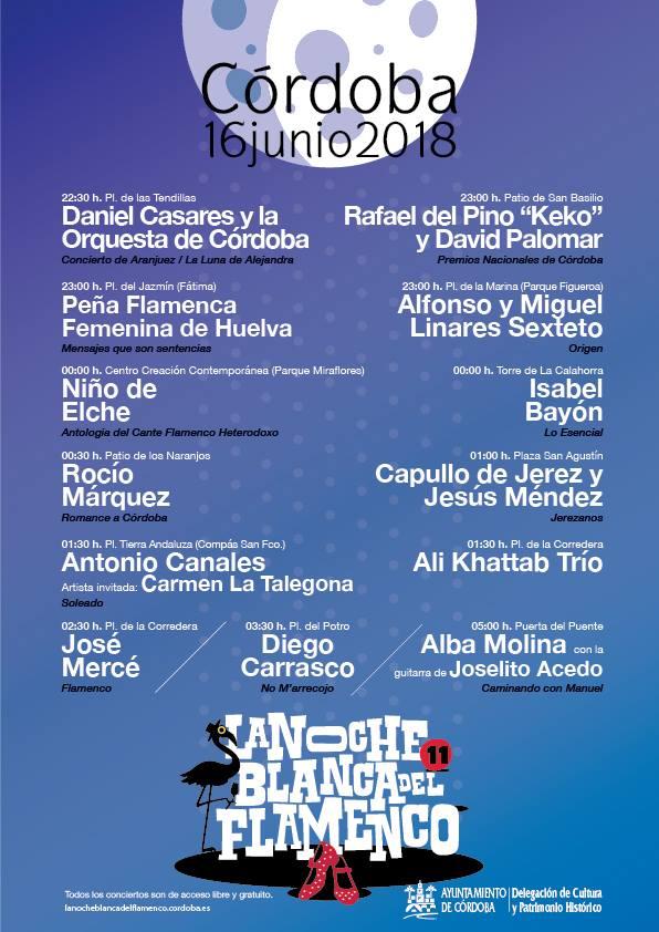 Programa Noche Blanca del Flamenco 2018